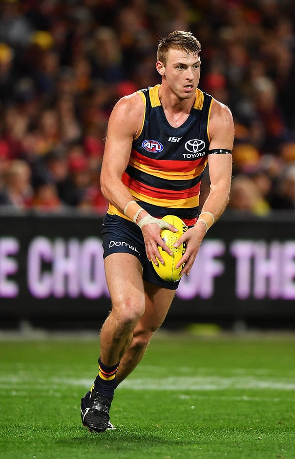 ADELAIDE, AUSTRALIA - SEPTEMBER 07:  Daniel Talia of the Crows kicks the ball during the AFL First Qualifying Final match between the Adelaide Crows and the Greater Western Sydney Giants at Adelaide Oval on September 7, 2017 in Adelaide, Australia.  (Photo by Daniel Kalisz/Getty Images/AFL Media)