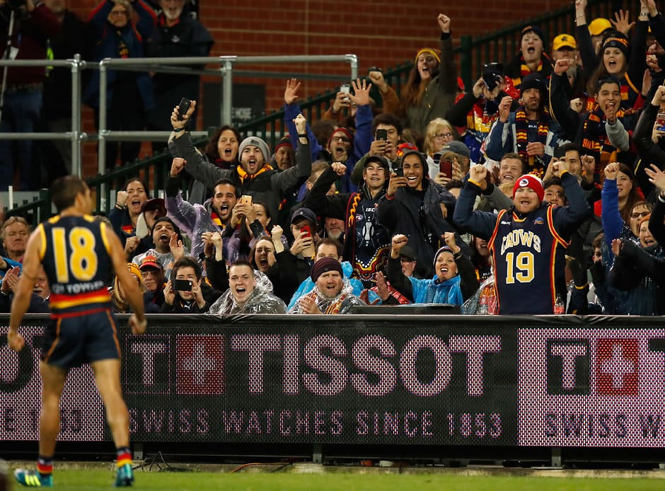 ADELAIDE, AUSTRALIA - SEPTEMBER 07: Eddie Betts of the Crows celebrates a goal during the 2017 AFL First Qualifying Final match between the Adelaide Crows and the GWS Giants at the Adelaide Oval on September 07, 2017 in Adelaide, Australia. (Photo by Michael Willson/AFL Media)