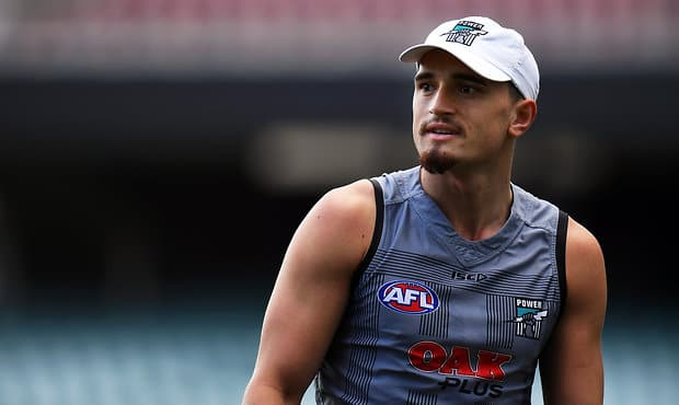 ADELAIDE, AUSTRALIA - SEPTEMBER 08: Sam Powell-Pepper of the Power looks on during a Port Adelaide Power AFL training session at Adelaide Oval on September 8, 2017 in Adelaide, Australia.  (Photo by Daniel Kalisz/Getty Images/AFL Media)