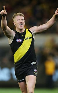 Josh Caddy celebrates his final quarter goal against Geelong in the qualifying final - Richmond Tigers,Geelong Cats,MCG