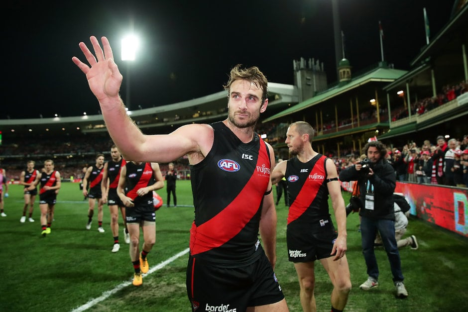 Jobe Watson in his final game for the Bombers at the SCG in September - AFL,Essendon Bombers,Jobe Watson,Retirements,Brendon Goddard,Dyson Heppell,Michael Hurley