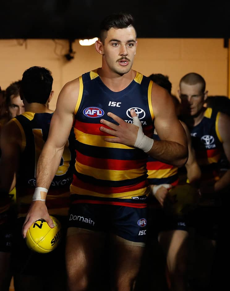 ADELAIDE, AUSTRALIA - SEPTEMBER 22: Taylor Walker of the Crows leads the team up the race during the 2017 AFL First Preliminary Final match between the Adelaide Crows and the Geelong Cats at Adelaide Oval on September 22, 2017 in Adelaide, Australia. (Photo by Adam Trafford/AFL Media)