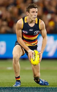 ADELAIDE, AUSTRALIA - SEPTEMBER 22: Paul Seedsman of the Crows in action during the 2017 AFL First Preliminary Final match between the Adelaide Crows and the Geelong Cats at Adelaide Oval on September 22, 2017 in Adelaide, Australia. (Photo by Michael Willson/AFL Media)