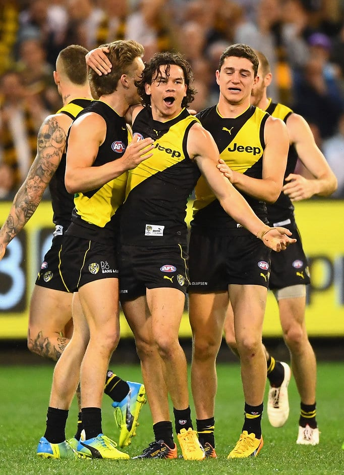 Daniel Rioli celebrates one of his four goals in another famous Richmond win - AFL,Richmond Tigers,GWS Giants