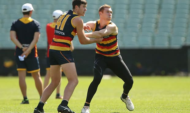 ADELAIDE, AUSTRALIA - SEPTEMBER 27: Mitch McGovern and Tom Lynch of the Crows during the Adelaide Crows open training session at Adelaide Oval on September 27, 2017 in Melbourne, Australia. (Photo by James Elsby/AFL Media)