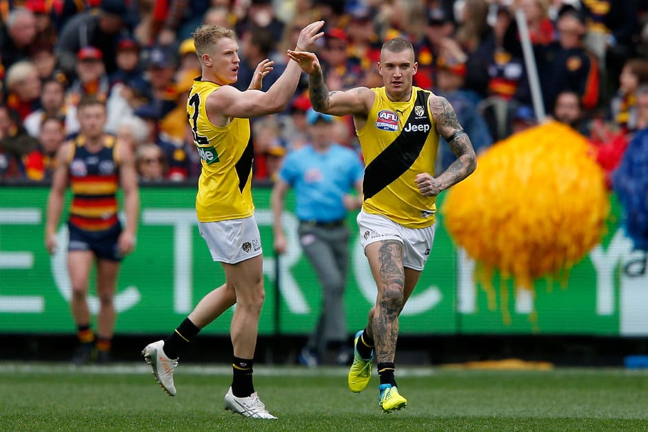 Josh Caddy and Dustin Martin celebrate another goal during the third quarter - AFL,Grand Final,Adelaide Crows,Richmond Tigers