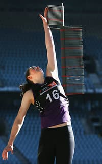 MELBOURNE, AUSTRALIA - OCTOBER 04:  Jessica Allan from Glenelg takes part in the vertical leap during the AFLW Draft Combine at Etihad Stadium on October 4, 2017 in Melbourne, Australia.  (Photo by Michael Dodge/Getty Images/AFL Media) - Western Bulldogs