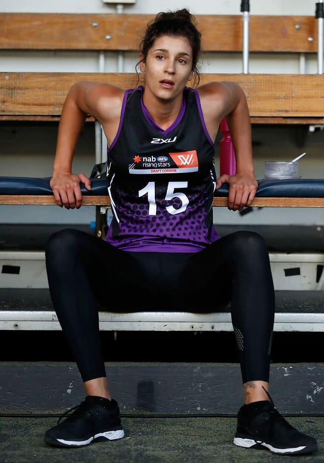 Jasmyn Hewett recovers after 2km time trial - AFLW,AFLW Draft Combine