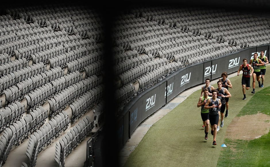 MELBOURNE, AUSTRALIA - OCTOBER 06: Players compete in the 2km time trial during the AFL Draft Combine at Etihad Stadium on October 6, 2017 in Melbourne, Australia. (Photo by Michael Willson/AFL Media)