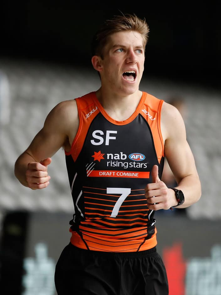 Dylan Moore blitzed the field in the 2km time trial at the national Combine - AFL,Dylan Moore,Draft,Draft Combine