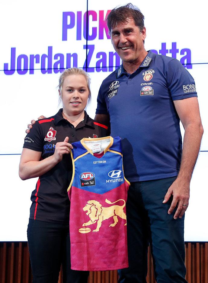 Jordan Zanchetta with coach Craig Starcevich - AFLW,Brisbane Lions