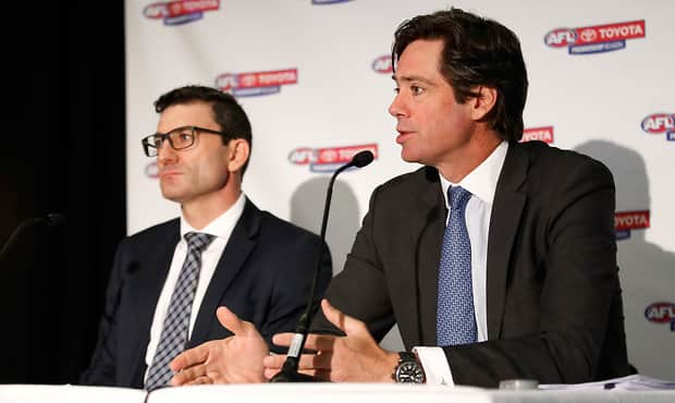 AFL executives Travis Auld and Gillon McLachlan at the release of the 2018 fixture - AFLX,AFL,Geelong Cats,Gillon McLachlan