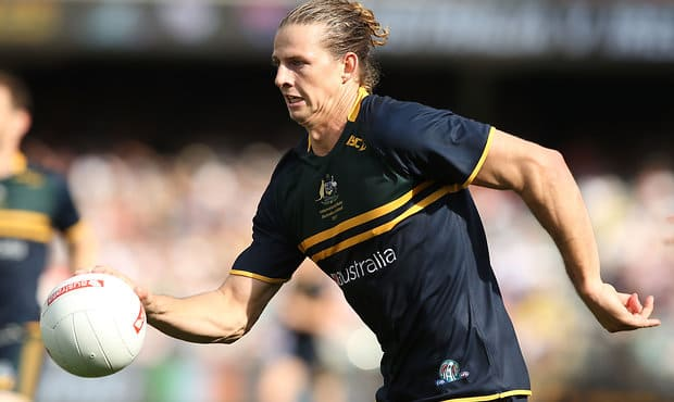 Nat Fyfe was a standout for Australia in the 10-point win over Ireland on Sunday. - International Rules,Nat Fyfe,All Australian