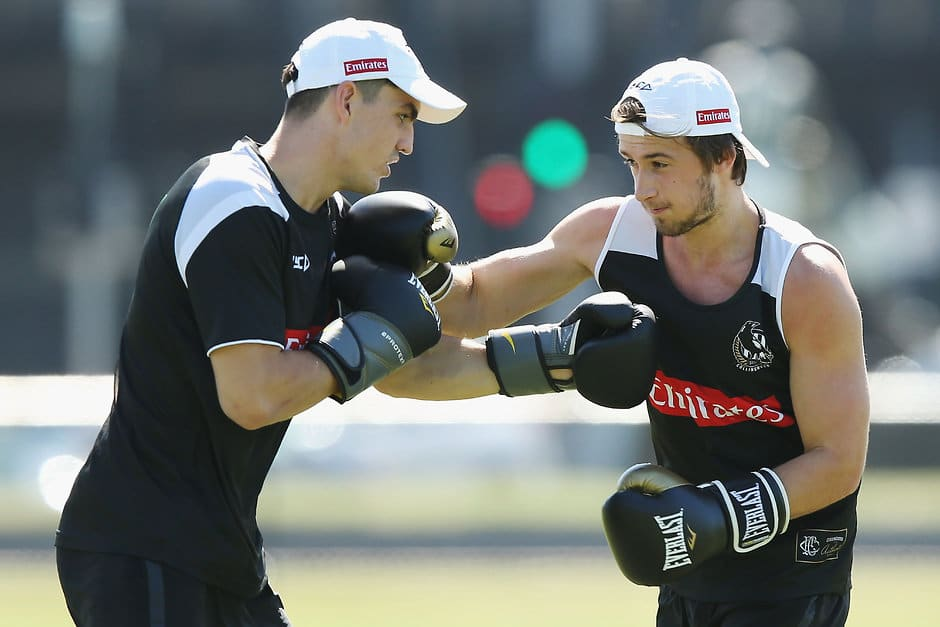 Brayden Maynard and Tom Phillips during pre-season training - AFL,Collingwood Magpies,Tom Phillips
