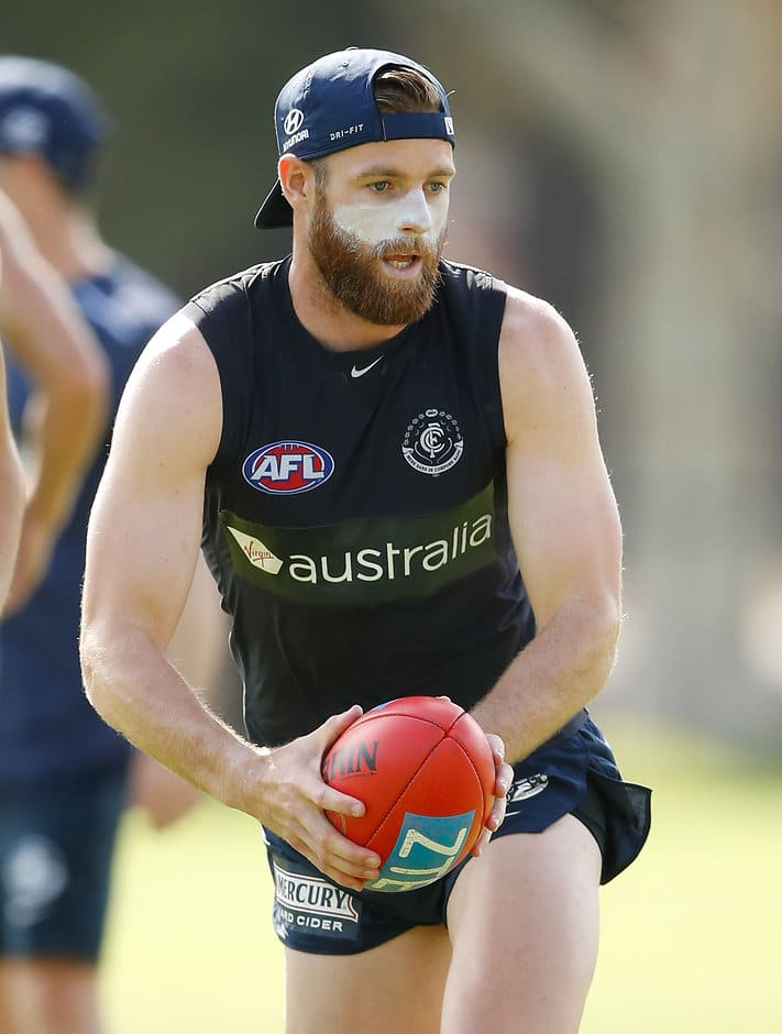 Sam Docherty at training on Wednesday before rupturing his ACL - AFL,Carlton Blues,Brendon Bolton,Sam Docherty,Injuries