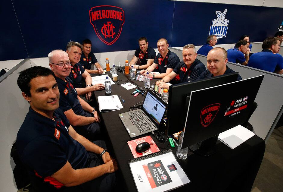 The Demons' recruiting staff at the 2017 NAB AFL Draft - AFL,Draft
