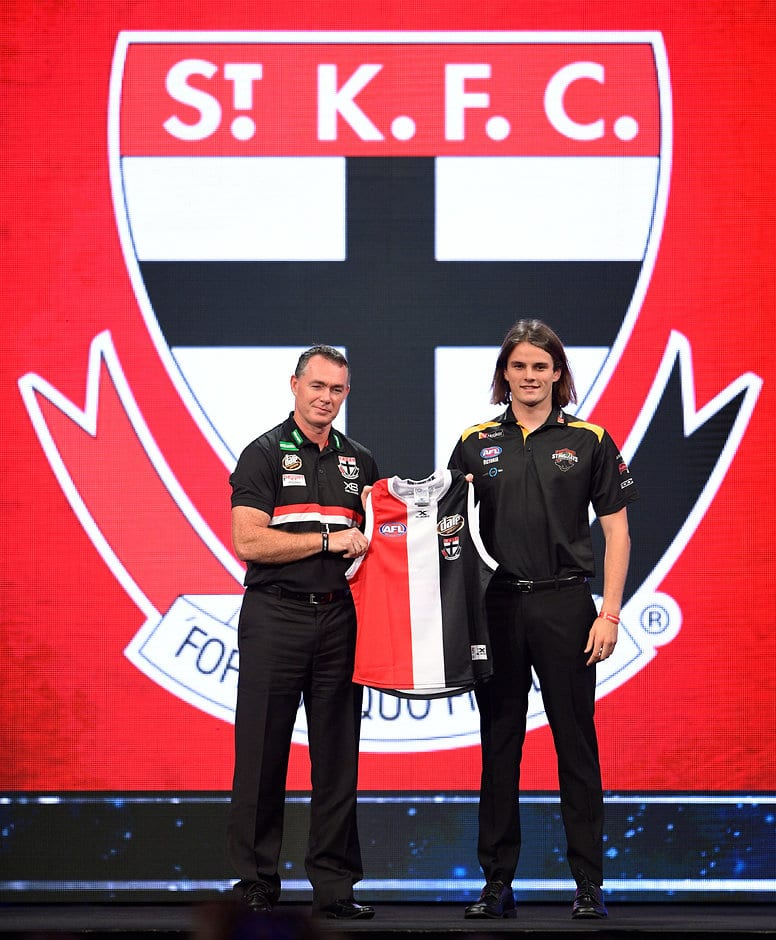 SYDNEY, AUSTRALIA - NOVEMBER 24: Alan Richardson, Senior Coach of the Saints poses for a photo with Hunter Clark during the 2017 NAB AFL Draft at Sydney Showground on 24 November, 2017 in Sydney, Australia. (Photo by Brett Hemmings/AFL Media) (Editors note: This image is free for editorial use only)