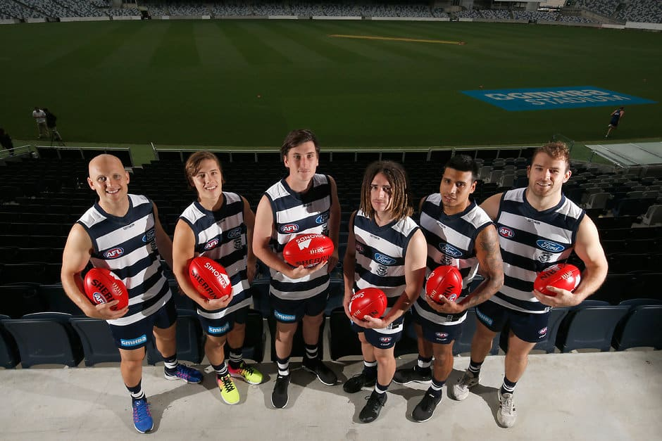 Tim Kelly, second from right, with Geelong's other draftees - and veterans Gary Ablett and Stewart Crameri - AFL,Geelong Cats,Tim Kelly,Steven Motlop