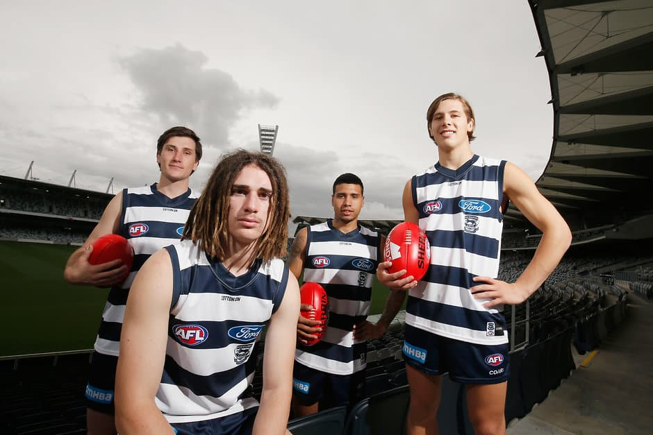 Geelong brought four first-year Cats into the club last year. - Geelong Cats,Tim Kelly,Gryan Miers,Charlie Constable,Lachie Fogarty