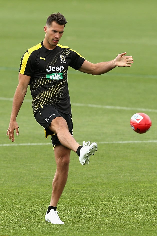 MELBOURNE, AUSTRALIA - DECEMBER 04:  Alex Rance kicks during a Richmond Tigers AFL training session at Punt Road Oval on December 4, 2017 in Melbourne, Australia.  (Photo by Robert Prezioso/Getty Images/AFL Media)