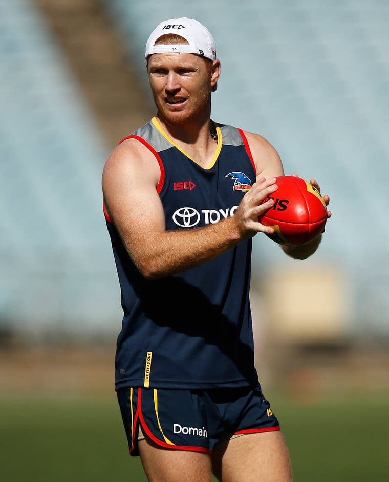 ADELAIDE, AUSTRALIA - DECEMBER 6: Kyle Cheney of the Crows in action during the Adelaide Crows training session at Football Park on December 6, 2017 in Adelaide, Australia. (Photo by Michael Willson/AFL Media)