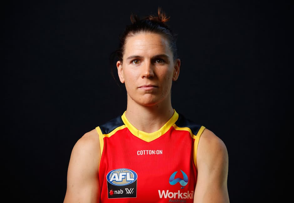 ADELAIDE, AUSTRALIA - DECEMBER 8: Chelsea Randall of the Crows poses for a portrait during the Adelaide Crows Womens team photo day at AAMI Stadium on December 8, 2017 in Adelaide, Australia. (Photo by Adam Trafford/AFL Media)