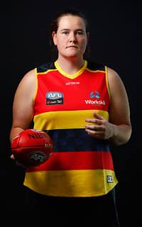 ADELAIDE, AUSTRALIA - DECEMBER 8: Sarah Perkins of the Crows poses for a portrait during the Adelaide Crows Womens team photo day at AAMI Stadium on December 8, 2017 in Adelaide, Australia. (Photo by Adam Trafford/AFL Media)