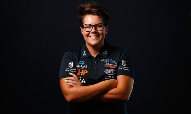 ADELAIDE, AUSTRALIA - DECEMBER 8: Bec Goddard, Senior Coach of the Crows poses for a portrait during the Adelaide Crows Womens team photo day at AAMI Stadium on December 8, 2017 in Adelaide, Australia. (Photo by Adam Trafford/AFL Media)