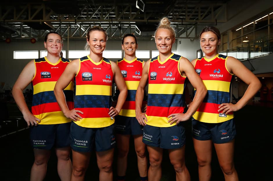 ADELAIDE, AUSTRALIA - DECEMBER 8: The Crows 2017 All Australian Team members (L-R) Sarah Perkins, Courtney Cramey, Chelsea Randall, Erin Phillips and Ebony Marinoff pose for a portrait during the Adelaide Crows Womens team photo day at AAMI Stadium on December 8, 2017 in Adelaide, Australia. (Photo by Adam Trafford/AFL Media)