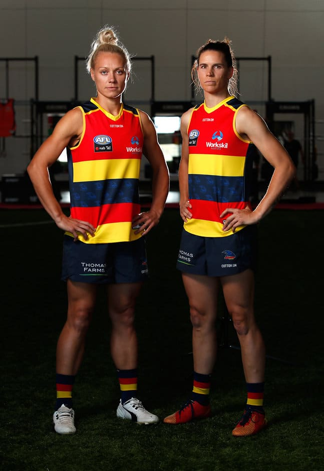Erin Phillips (left) and Chelsea Randall will again captain the Crows - AFLW,Adelaide Crows,Erin Phillips,Chelsea Randall