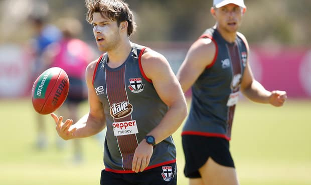 MELBOURNE, AUSTRALIA - DECEMBER 15: Nathan Freeman of the Saints in action during the St Kilda Saints open training session at Linen House Centre on December 15, 2017 in Melbourne, Australia. (Photo by Adam Trafford/AFL Media)