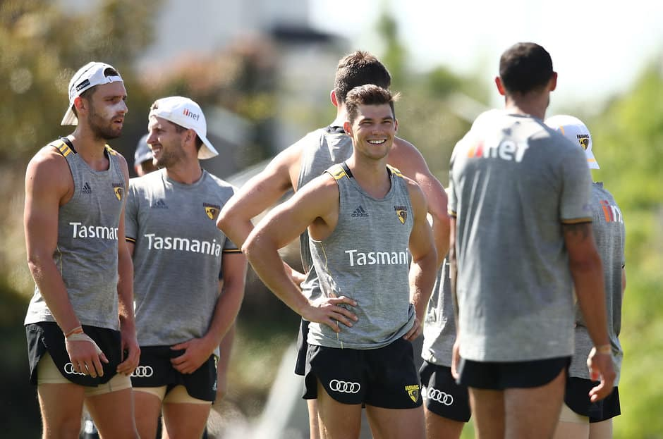 Jaeger O'Meara (pictured at training in December) was among the most popular Hawks in Moe. Picture: Getty Images - AFL,Hawthorn Hawks