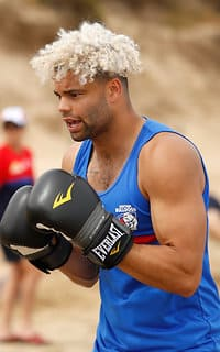 TORQUAY, AUSTRALIA - DECEMBER 18: Jason Johannisen of the Bulldogs boxes during the Western Bulldogs beach training session at The Sands on December 18, 2017 in Torquay, Australia. (Photo by Adam Trafford/AFL Media) - Western Bulldogs,Jason Johannisen