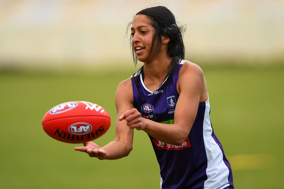 PERTH, AUSTRALIA - DECEMBER 18: Jade De Melo of the Dockers during the Fremantle Dockers AFLW training session at Victor George Kailis Oval on December 18, 2017 in Perth, Australia. (Photo by Daniel Carson/AFL Media)