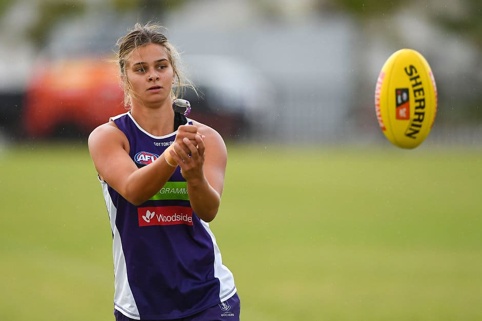 Tiah Haynes training in preparation for the second AFLW season. - Fremantle Dockers,AFLW