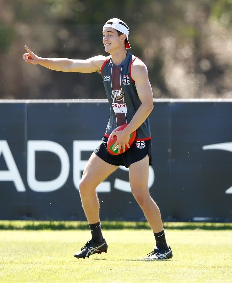 MELBOURNE, AUSTRALIA - DECEMBER 15: Nicholas Coffield of the Saints in action during the St Kilda Saints open training session at Linen House Centre on December 15, 2017 in Melbourne, Australia. (Photo by Adam Trafford/AFL Media)