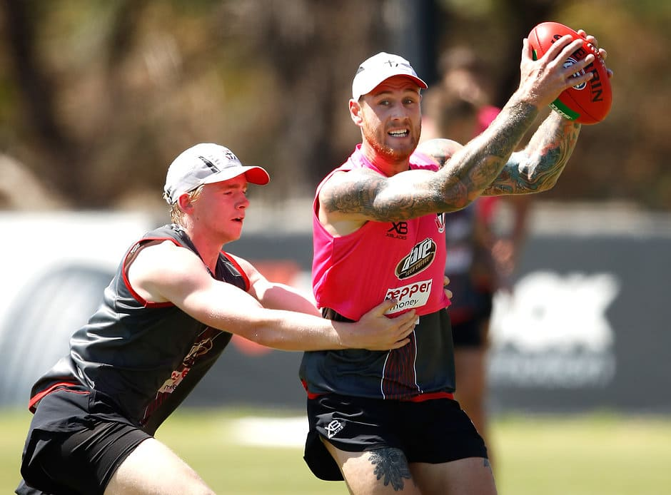 MELBOURNE, AUSTRALIA - DECEMBER 15: Tim Membrey of the Saints is tackled by Ed Phillips of the Saints during the St Kilda Saints open training session at Linen House Centre on December 15, 2017 in Melbourne, Australia. (Photo by Adam Trafford/AFL Media)
