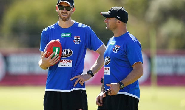 MELBOURNE, AUSTRALIA - DECEMBER 15: Henry Playfair, Assistant Coach of the Saints (left) chats to Aaron Hamill, Assistant Coach of the Saints during the St Kilda Saints open training session at Linen House Centre on December 15, 2017 in Melbourne, Australia. (Photo by Adam Trafford/AFL Media)
