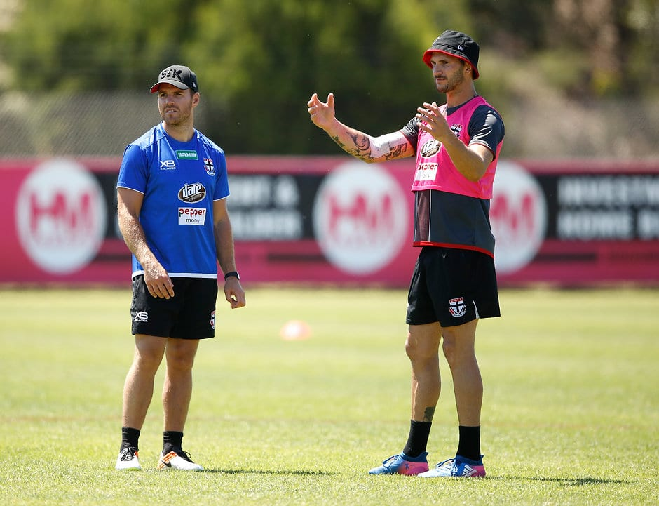 MELBOURNE, AUSTRALIA - DECEMBER 15: Koby Stevens of the Saints chats to Ben McGlynn, Assistant Coach of the Saints during the St Kilda Saints open training session at Linen House Centre on December 15, 2017 in Melbourne, Australia. (Photo by Adam Trafford/AFL Media)