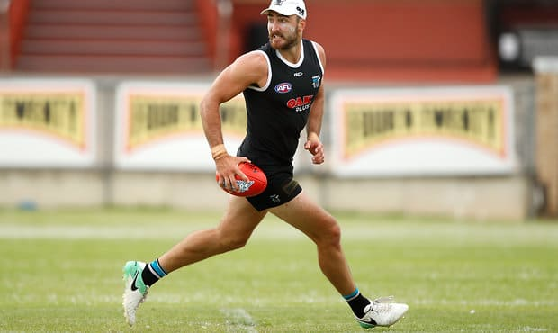 ADELAIDE, AUSTRALIA - JANUARY 10: Charlie Dixon of the Power in action during the Port Adelaide training session at Alberton Oval on January 10, 2018 in Adelaide, Australia. (Photo by Adam Trafford/AFL Media)