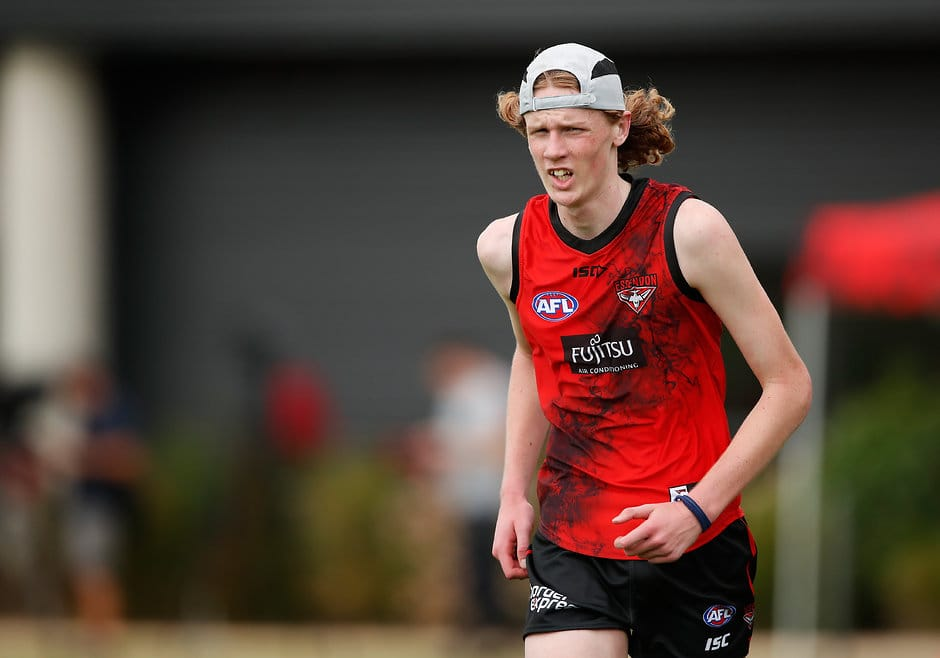 Mason Fletcher training with Essendon in January this year - AFL,Draft,Essendon Bombers,Dustin Fletcher