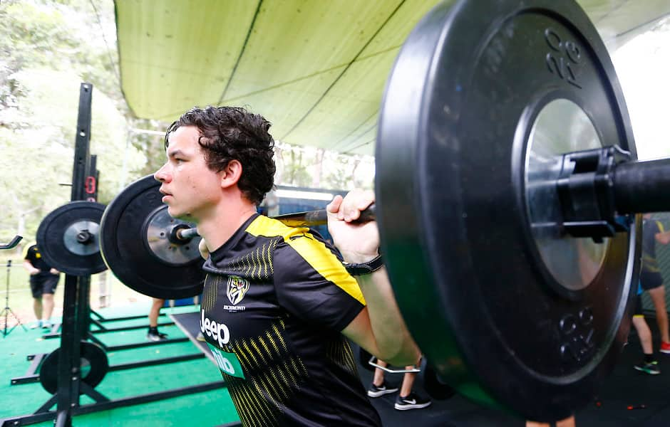 Daniel Rioli does some heavy lifting on the Tigers' Sunshine Coast camp - AFL,Richmond Tigers,Daniel Rioli,Nathan Drummond,Shaun Hampson,Injuries,AFLX