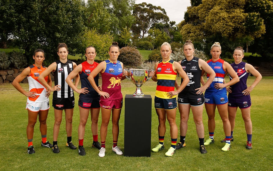MELBOURNE, AUSTRALIA - JANUARY 30: The 2018 AFLW Captains (L-R) Amanda Farrugia of the Giants, Stephanie Chiocci of the Magpies, Daisy Pearce of the Demons, Emma Zielke of the Lions, Erin Phillips of the Crows, Brianna Davey of the Blues, Katie Brennan of the Bulldogs and Kara Donnellan of the Dockers pose for a photograph during the 2018 AFLW Season Launch and Captain's Day at 124 Whitehall Street on January 30, 2018 in Melbourne, Australia. (Photo by Michael Willson/AFL Media)