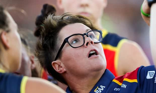 ADELAIDE, AUSTRALIA - FEBRUARY 3: Bec Goddard, Senior Coach of the Crows during the 2018 AFLW Round 01 match between the Adelaide Crows and the Brisbane Lions at Norwood Oval on February 3, 2018 in Adelaide, Australia. (Photo by AFL Media)
