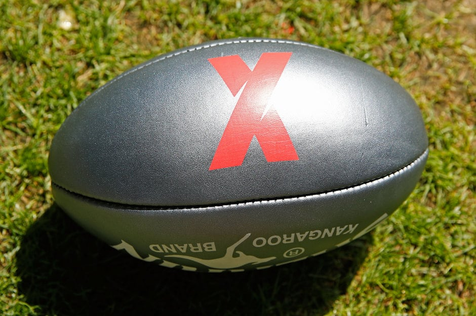 MELBOURNE, AUSTRALIA - FEBRUARY 6: An AFLX ball sits on display during the AFLX Tournaments Launch at Etihad Stadium in Melbourne, Australia. (Photo by Scott Barbour/AFL Media)