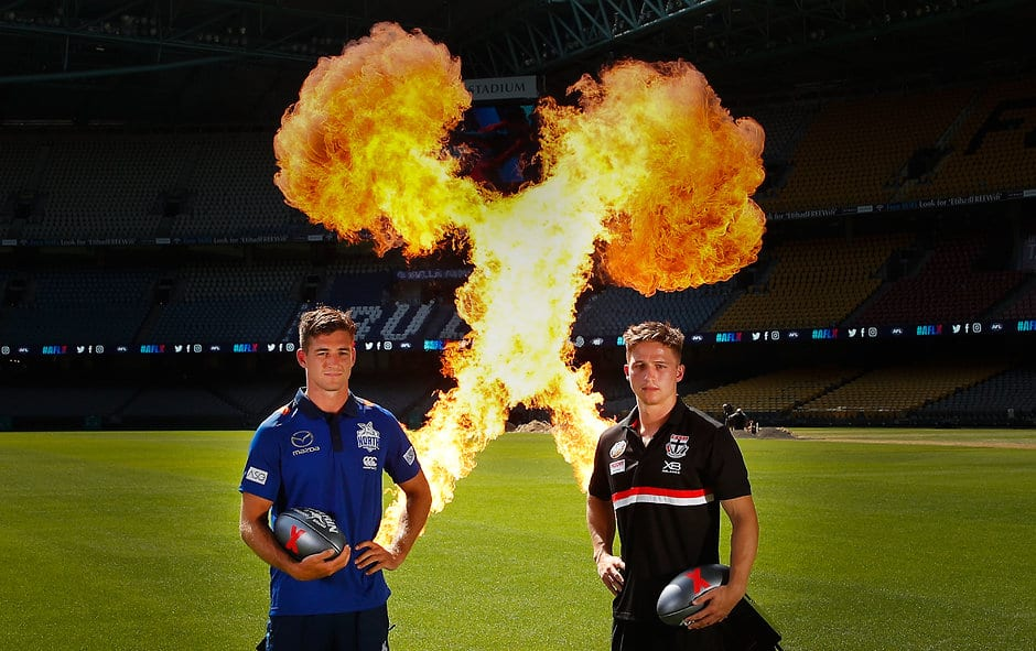 MELBOURNE, AUSTRALIA - FEBRUARY 6:  North Melbourne player Shaun Atley and St Kilda player Jack Billings pose during the AFLX Tournaments Launch at Etihad Stadium in Melbourne, Australia. (Photo by Scott Barbour/AFL Media)