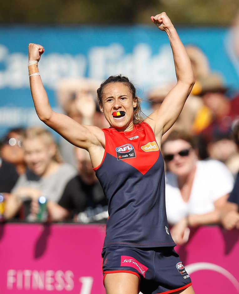 Aliesha Newman celebrates her Goal of the Year against the Crows - AFLW