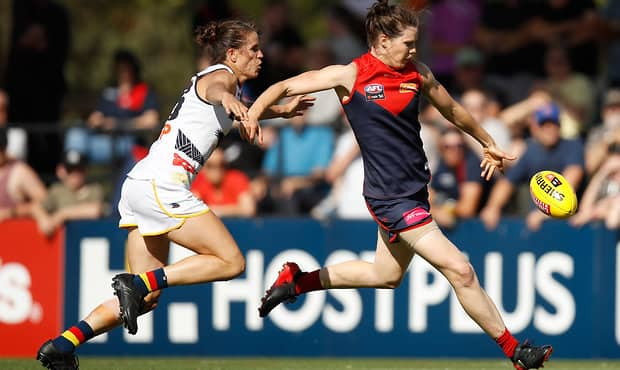 MELBOURNE, AUSTRALIA - FEBRUARY 10: Chelsea Randall of the Crows and Elise O'Dea of the Demons in action during the 2018 AFLW Round 02 match between the Melbourne Demons and the Adelaide Crows at Casey Fields on February 10, 2018 in Melbourne, Australia. (Photo by Michael Willson/AFL Media)