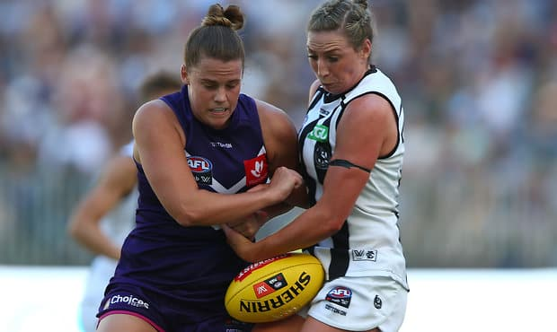 Stacey Barr finished with a goal in the 13-point win over Collingwood on Saturday. - Fremantle Dockers,AFLW,Alicia Janz,Stacey Barr,Optus Stadium,Collingwood Magpies