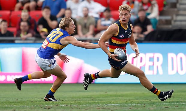 ADELAIDE, AUSTRALIA - FEBRUARY 15: Jackson Nelson of the Eagles and Harry Dear of the Crows in action during the AFLX match between the Adelaide Crows and the West Coast Eagles at Hindmarsh Stadium on February 15, 2018 in Adelaide, Australia. (Photo by Michael Willson/AFL Media)